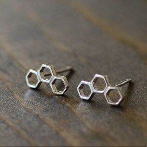 Sterling Silver Honeycomb Post Earrings